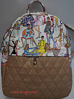 Молодежный рюкзак с цветным принтом песочный
