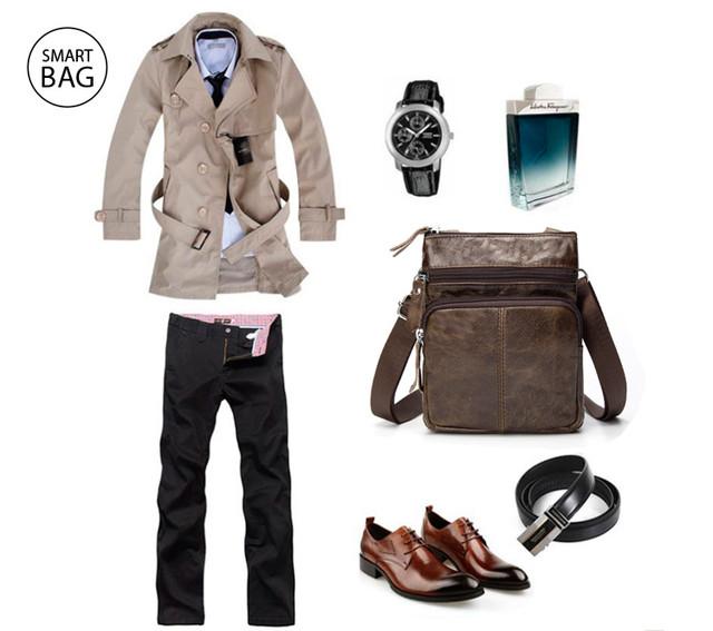 Мужская кожаная мини-сумка через плечо Marrant   lite coffee