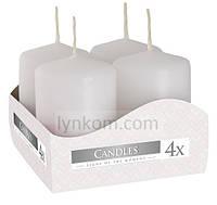 Свеча декоративная цилиндр белая 40х60мм  (4шт), фото 1