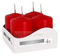 Свеча красная 40х60мм (4шт) декоративная цилиндр