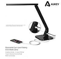 Aukey LT-T1 - настольная LED лампа, USB для зарядки, UV фильтр для защиты глаз