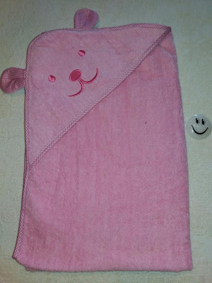 "Детское полотенце ""Ушки"" розовое, 90 см"