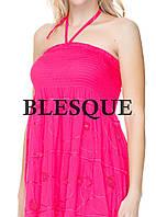 Сарафан-юбка  с вышитыми кружевами розовый
