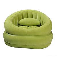 Велюровое надувное кресло Intex 68563 зеленый