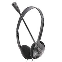 Наушники с микрофоном Gemix HP-100MV Black, 2 x Mini jack (3.5 мм), накладные, регулятор громкости, кабель 2 м