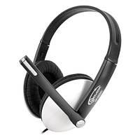 Наушники с микрофоном Gemix HP-560MV Black/White, 2 x Mini jack (3.5 мм), накладные, регулятор громкости, кабель 2.4 м
