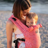 Эрго-рюкзак Love&carry Dlight Флора из шарфовой ткани (жаккард) коралловый