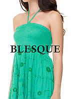 Сарафан-юбка  с вышитыми кружевами зеленый