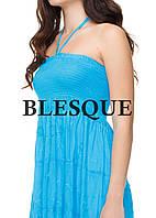 Сарафан-юбка  с вышитыми кружевами голубой