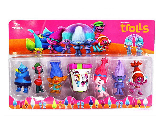 """Детский игровой набор героев Герои """"Trolls"""" Тролли (21916) - 7-8.5см, бочка, 6шт на планшетке"""