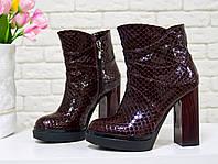 Ботинки лаковые цвета марсала на высоком устойчивом каблуке из натуральной кожи