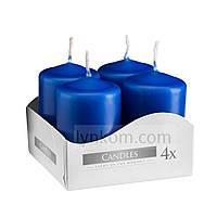 Свеча цилиндр синяя Bispol 6 см 4 шт (sw40/60-050)