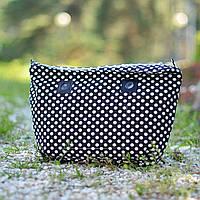Черная подкладка в белый горошек для CREGO, O bag, Lime and Soda, Am Bag размер Classic
