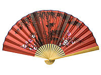 Веер настенный китайский бамбук и ткань