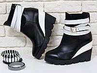 Ботинки  черно белые на танкетке из натуральной кожи хит продаж