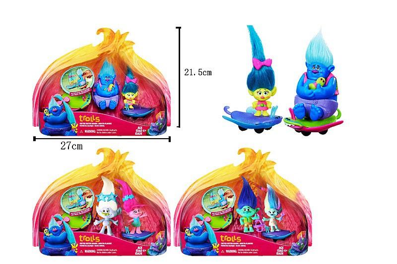 """Детский набор игровых фигурок Герои """"Trolls"""" Тролли (BW819204)-  3 вида, с аксесс., герои 2шт на планшетке"""