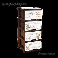 """Пластиковый комод 4 ящика """"Медвежата"""" коричневый"""