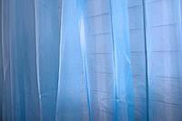 Тюль шифоновая однотонная, цвет голубой