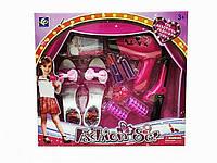 Игровой набор для девочек Набор Парикмахера YF741-1-фен на батар, туфли, карточки, утюг, бигуди, помада, закол