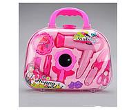 Игровой набор для девочек Набор Парикмахера (BJ1289) -10дет., фен на батар, зеркальце, помада, заколки, в чемо