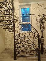 Кованая лестница поворотная внутренняя.