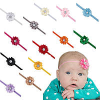 Повязка на голову для новорожденных от 0 до 1 года розовая