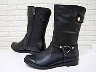 Ботинки полусапожки зимние Б-204 черные из натуральной кожи свободного одевания