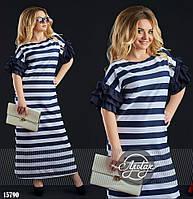 Платье в полоску больших размеров- 15790