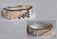 Серебряное мужское кольцо с золотыми накладками
