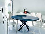 Круглый раскладной стеклянный стол BARONE 122 см фабрики BONTEMPI (Италия), фото 2
