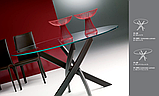 Круглый раскладной стеклянный стол BARONE 122 см фабрики BONTEMPI (Италия), фото 6