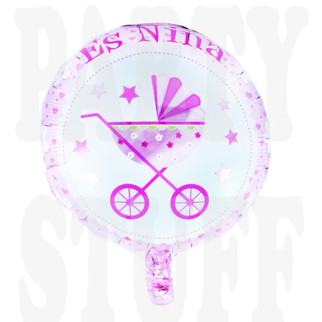 шар с коляской розовый