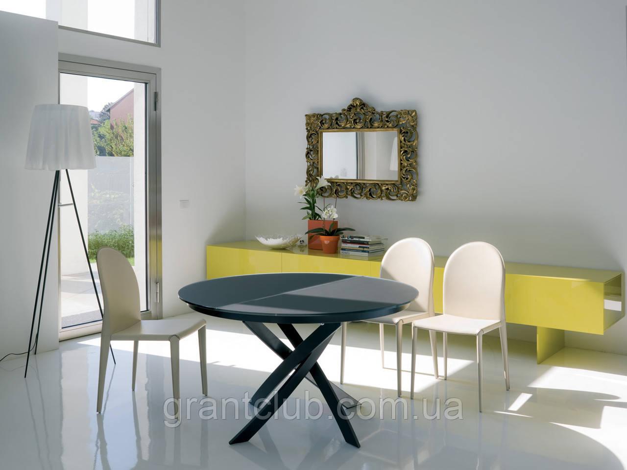 Круглый раскладной стеклянный стол BARONE 122 см фабрики BONTEMPI (Италия)