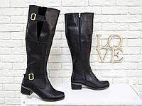 Сапоги кожаные высокие черного цвета  из натуральной кожи на удобной подошве