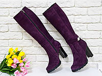 Сапоги высокие из натуральной замши бордового цвета на высоком устойчивом каблуке