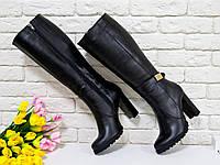 Сапоги высокие из натуральной кожи черного цвета на высоком устойчивом каблуке