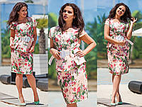 """Элегантный женский костюм с юбкой в больших размерах 1133 """"Лён Цветы Пояс"""" в расцветках"""