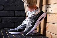 Мужские кроссовки Nike Air Max 1 Flyknit 🔥 (Найк Аир Макс Флайкнит) черно-серые