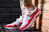 Мужские кроссовки Nike Air Max 1 Flyknit 🔥 (Найк Аир Макс Флайкнит) красно-белые