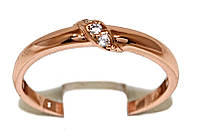 Обручальное кольцо фирмы Xuping, цвет: позолота с красным оттенком. Камень: белый циркон. Есть с 16 по 21 р.