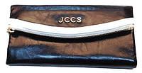 Женский кошелек JCCS 3088 черно-белый из натуральной масляной кожи размер 20 на 10 см