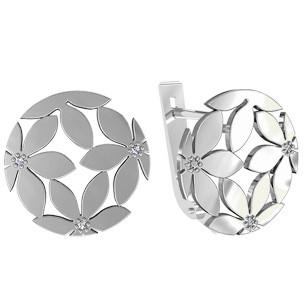Серьги серебряные Цветы в камнях 111045