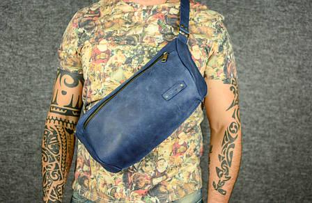 Мужская повседневная сумка-бананка |10158| Синий