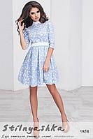 Платье из льна с белым воротником голубое