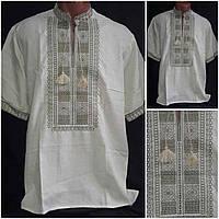 """Рубаха с вышивкой """"Квадраты"""", короткий рукав, 100% хлопок, 44-60 р-ры, 420/390 (цена за 1 шт. + 30 гр.)"""