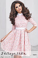 Платье из льна с белым воротником пудра