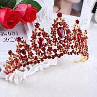 Корона диадема РОЗАЛИЯ красная Тиара Виктория элит класс высокая корона свадебная красная