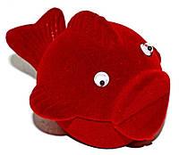 """Бархатная коробочка для кольца. """"рыба"""" Цвет:красный. Высота: 6 см. Ширина: 6 см."""