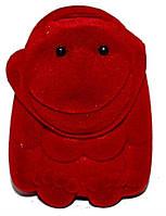 """Бархатная коробочка для кольца. """"обезьяна"""" Цвет:красный. Высота: 5 см. Ширина: 4 см."""