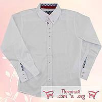 Белые рубашки Феррари в мелкую полоску Длинный рукав Рост:116-128-140-152 см (vn5428)